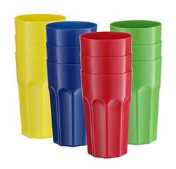 12 Pack - Hard Plastic Tumblers Reusable Drinking Glass, Bre