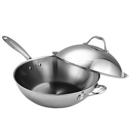 13 in. Multi-Ply Clad Stainless Steel Wok Stir Fry Pan with