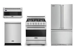 Viking 3 Series 36in Refrigerator, 30in Gas Range, OTR Micro