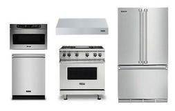 "Viking 36"" Refrigerator, 36"" Range, Hood, Microwave and Dish"