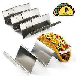 4 Pack Stainless Steel Taco Holder Stand Safe Rack Tray for