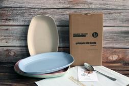 Greenandlife 4pcs Dishwasher & Microwave Safe Wheat Straw Re