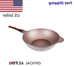 Alpha - Wok Pan with Induction Ready 12.6 in 32cm Oil Less W