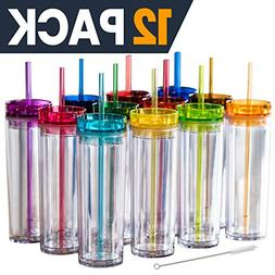 12 Colored Acrylic Tumblers with Lids and Straws | Skinny, 1