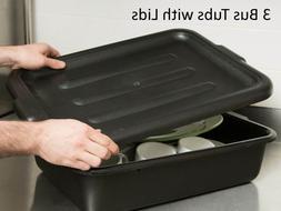 Lot of 4 Black Dish box / Bus box / Bus Tub 21 x 15 x 7