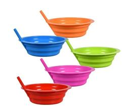 BPA Free Dishwasher Safe Colorful Plastic Bowls with Built-I