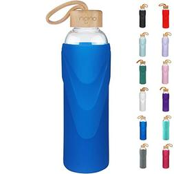 ORIGIN Best BPA-Free Glass Water Bottle with Protective Sili