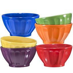 Ceramic Groove Bowls - Cereal, Soup, Ice Cream, 14oz. Set of