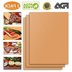 NiceOne Copper Grill Mat Set of 3-100% Non-stick BBQ Grill M