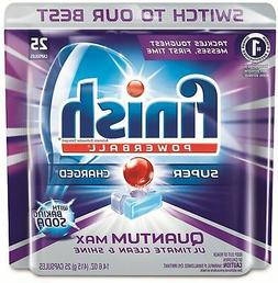 Finish Quantum Max Powerball With Baking Soda, 25 Tabs, Dish