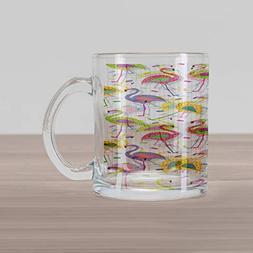 Ambesonne Flamingo Glass Mug, Colorful Retro Vintage Flaming