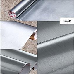 IHomee Brushed Metal Silver Contact Paper Film Vinyl Self Ad