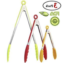 GeMoor 3 Pack Kitchen Tongs set of 8, 10, 13 Inch, FDA Appro