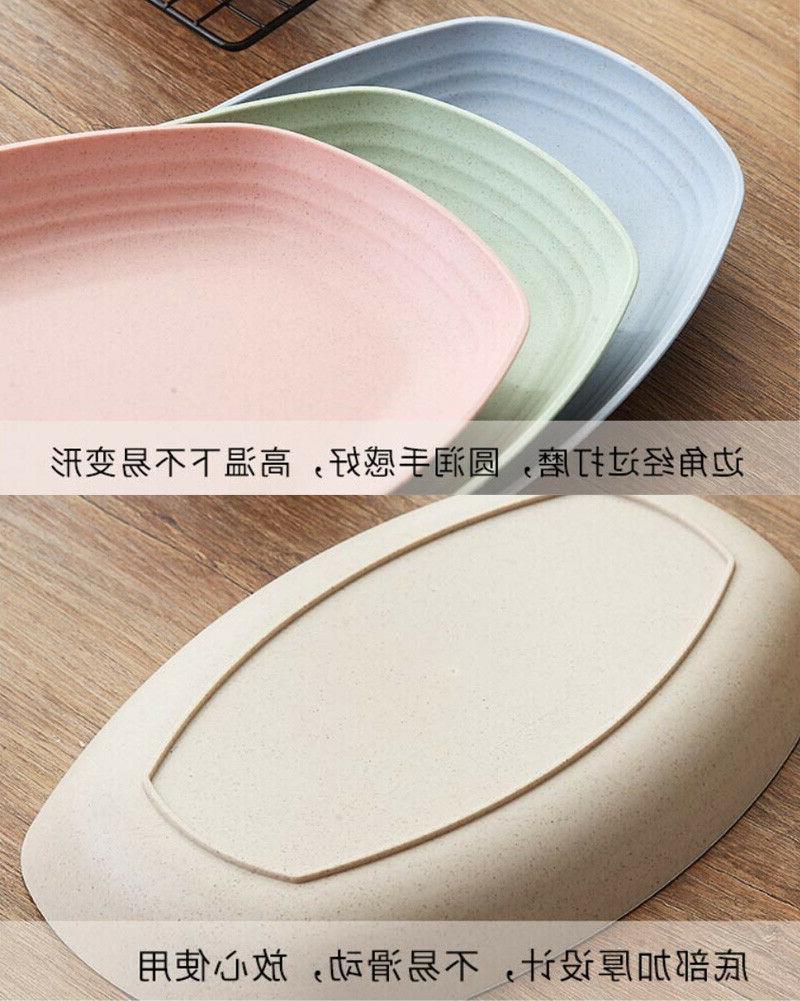 Greenandlife 4pcs Dishwasher Microwave Rectangle Plates