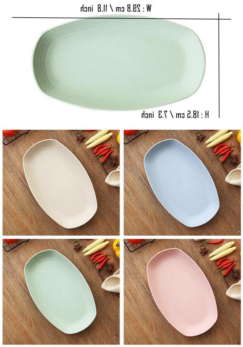 Greenandlife Dishwasher Microwave Wheat Rectangle Plates