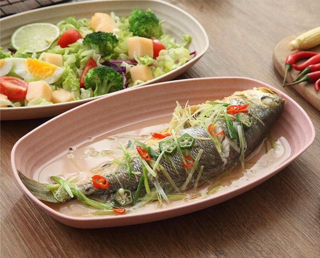 Greenandlife 4pcs Microwave Straw Rectangle Plates