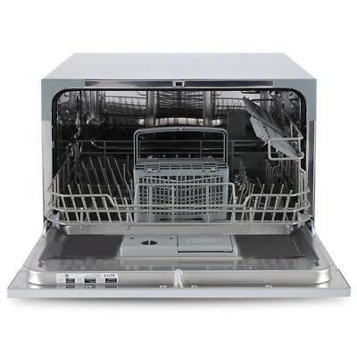 6 Settings Small Kitchen Dishwasher Steel,