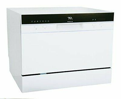 6 place settings white countertop dishwasher