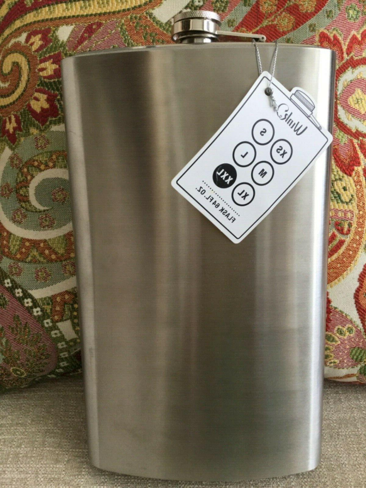 64oz flask jumbo big stainless steel attached