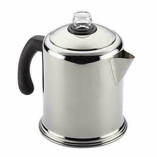 8-Cup Coffee Stovetop Percolator Safe