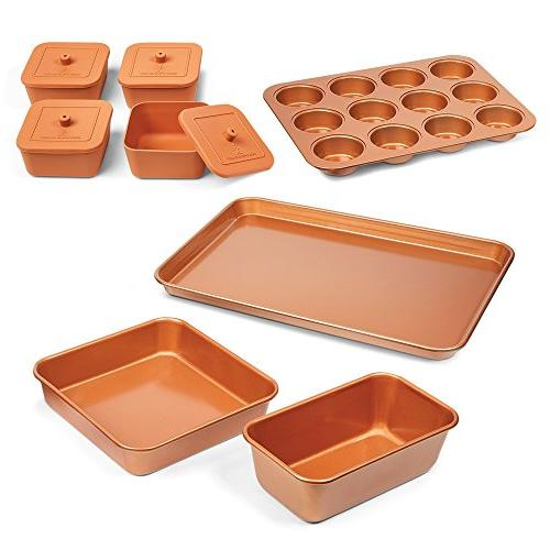 Bakeware Set Baking Cooking Utensils Copper Chef 12PCS Cake