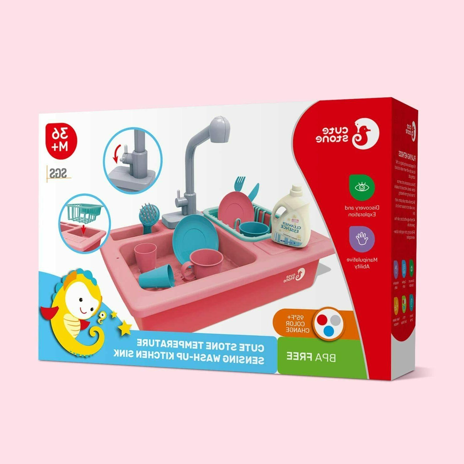 Color Kitchen Sink Toy for Kids Running Water