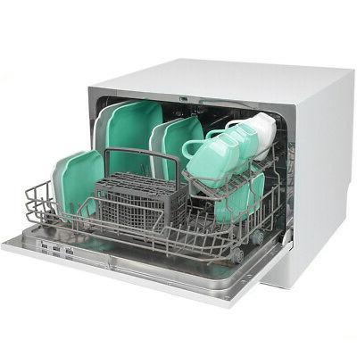 Mini Settings Countertop Dishwasher Steel, White