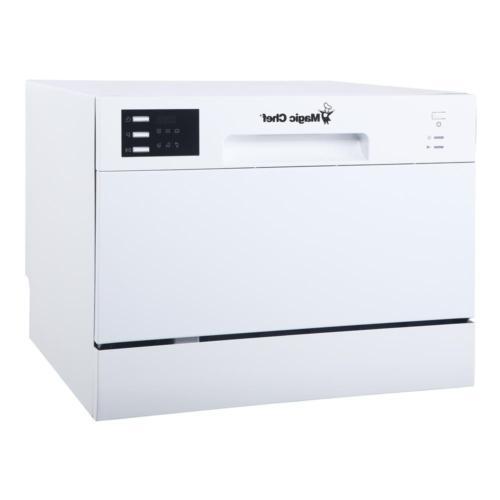 Magic Chef Countertop Portable Dishwasher White / Black 6 Pl
