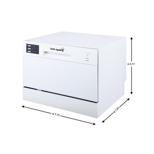 Magic Chef Countertop Dishwasher White / Black 6 Compact