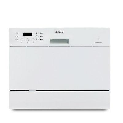 Countertop Dishwasher 6 Settings Delay White