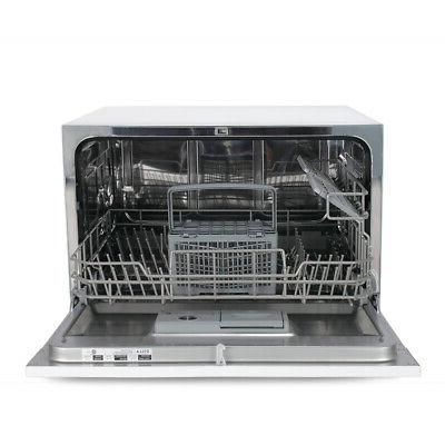 6 Cycles Compact Dishwasher, White