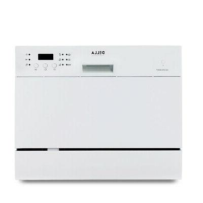 6 Wash Cycles Compact Stainless Dishwasher,