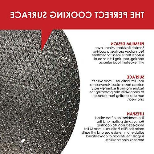 """Elite Platinum EG-6203 Deep Electric Skillet Glass Vented Lid Easy-Pour Spout, 1500W, 16"""" 13"""" x 8 quart, Black"""