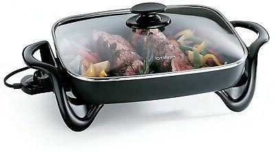 Electric 16-Inch With Glass Cover, nonstick surface,dishwasher