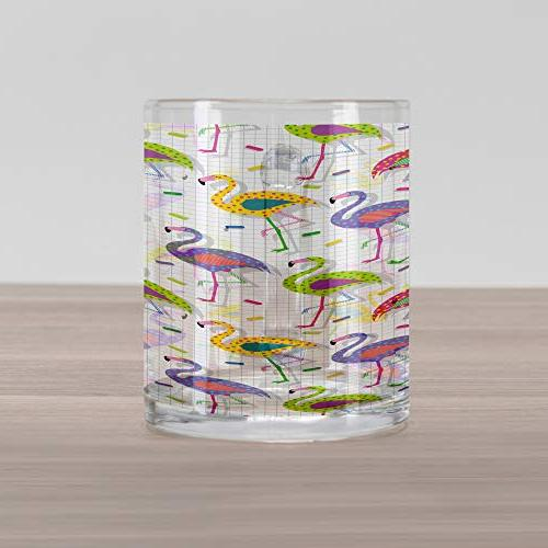 Ambesonne Colorful Retro Patterns in Clear Mug Cup Beverages Tea Drinks,
