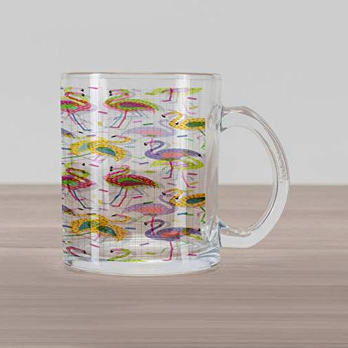 Ambesonne Mug, Colorful Patterns Design Clear Glass Coffee Cup Beverages Tea Drinks,