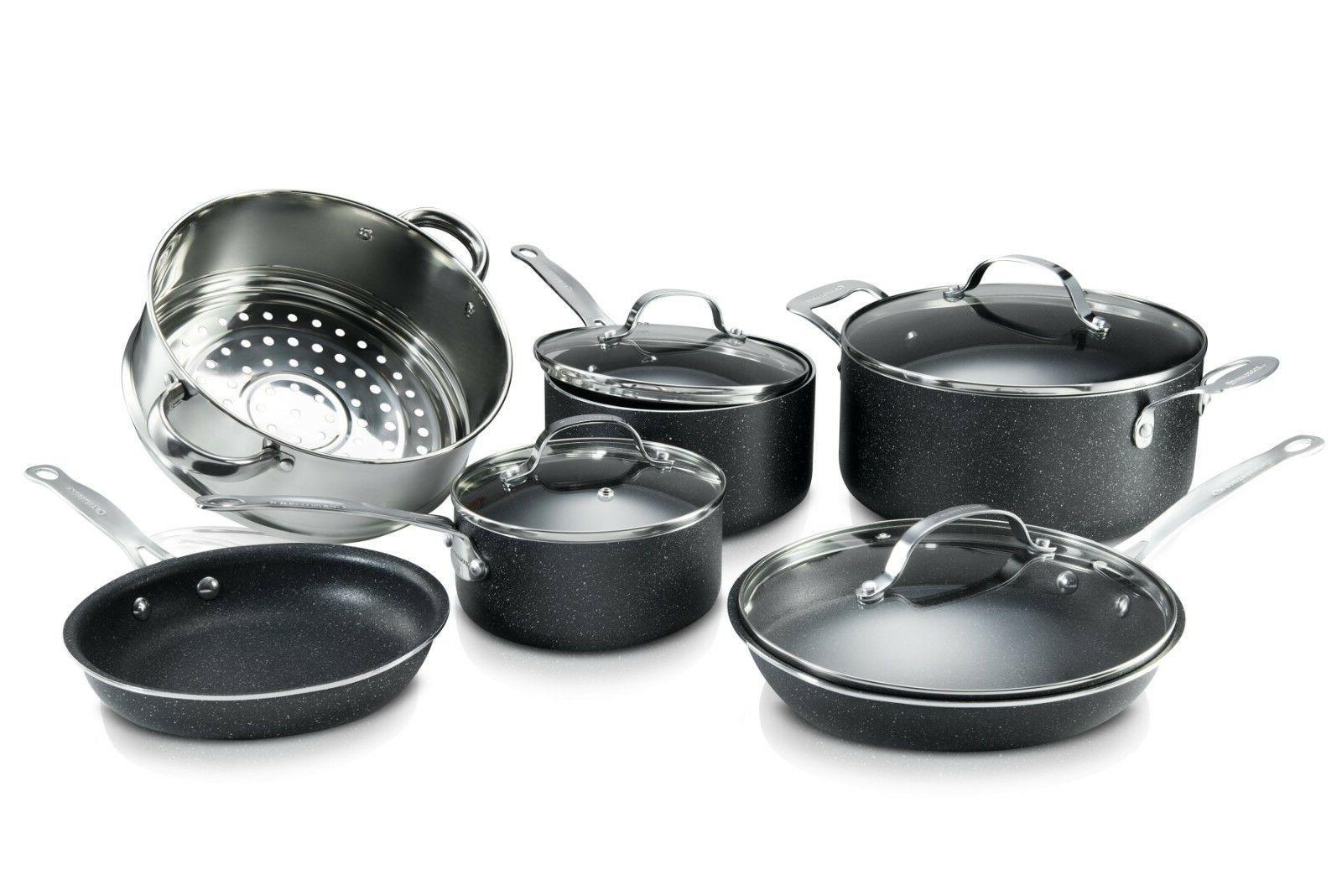 Granite Rock Piece Nonstick Durable Cookware Utensil Set!