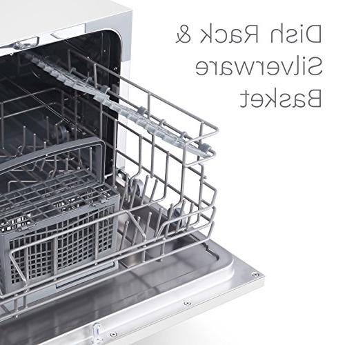hOmeLabs Compact Dishwasher - Washer Stainless Steel Interior for Office and Home - Dishwashers with 6 Place Rack Silverware Basket