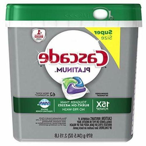 platinum actionpacs dishwasher detergent 62 count packaging