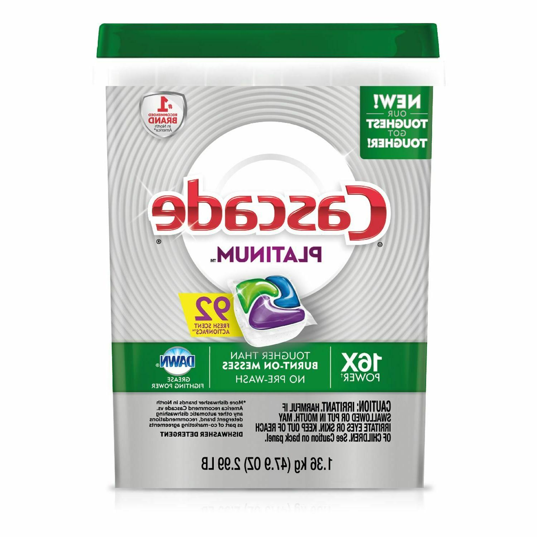 platinum actionpacs dishwasher detergent fresh 92 count