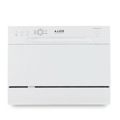 Mini 6 Settings Countertop Steel, White