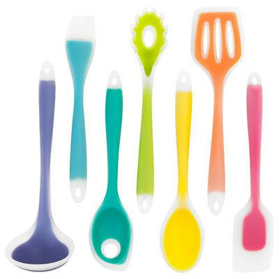 Silikon Rainbow Kitchen Utensils - 7 Piece Silicone Cooking