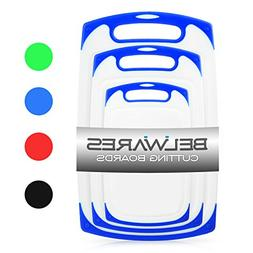 Plastic Cutting Boards Set of 3, Dishwasher Safe Reversible