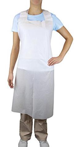 Disposable PLUS White Polyethylene Waterproof Aprons 28 x 46