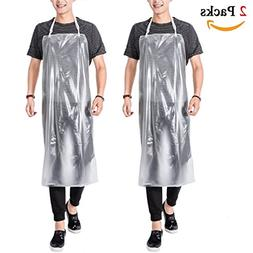 """2 Pack 43""""x 31"""" PVC Waterproof Apron, Unisex Extra Long Thic"""