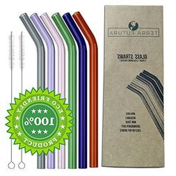 Reusable Glass Drinking Straws,Set of 6,Shatter Resistant,No