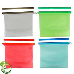 SiloGreen Reusable Silicone Food Storage & Sandwich Bags for