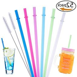 50 Pieces Reusable Straws Clear Solid Colors Plastic Acrylic