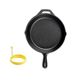 LODGE Pre-Seasoned Cast Iron Skillet  + Dishwasher Safe Sili
