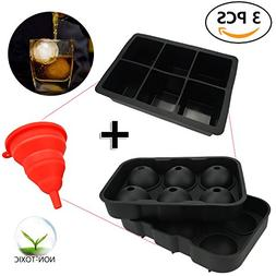 FittiDoll Silicone Ice Cube Trays Mold & Sphere Ice Molds Ic